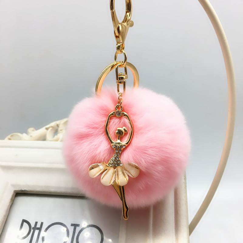 Rabbit fur hair plush ball rhinestone ball pom pom plush toys girls bags ring pendant toy for bag decoration