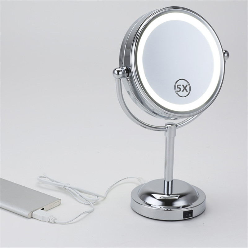 ZD New Fashion 6 inches LED Lights Makeup Mirror Desktop Double Side Make Up Mirror 5X Women Beauty Tool Espejo De Mano XN144M электрическая тепловая пушка inforce eh 5 t