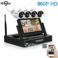 Hiseeu 4CH 960P Wireless CCTV System 7 Inch Displayer Wireless NVR IP Camera IR CUT Bullet