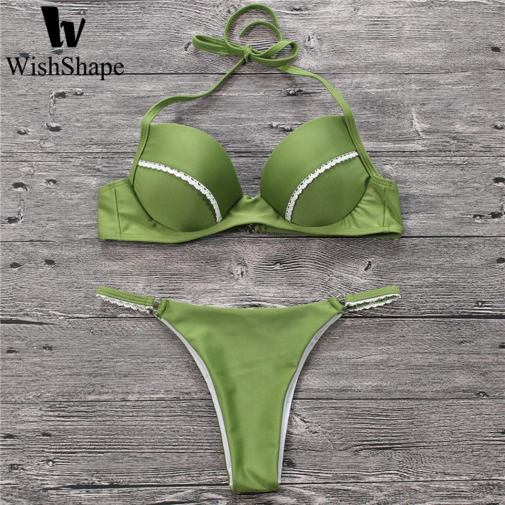 Sexy Micro Mini Thong Bikini Swimwear Push Up Halter -7244