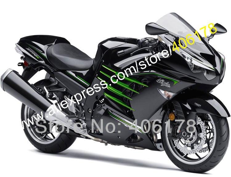 Hot Sales, Sada pro motocykly Body Kit pro Kawasaki ZX14R ZZR1400 2012 2013 2014 2015 ZX-14R Černá Zelená Pažba (Vstřikování)