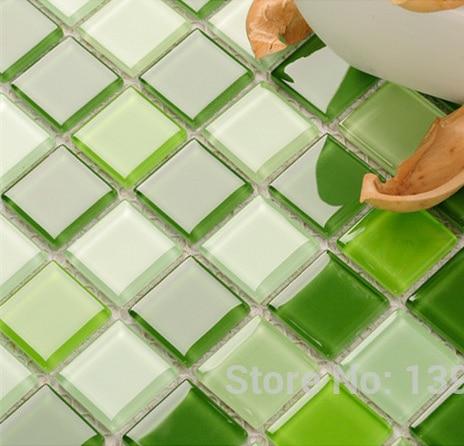 3D random design Fresh Green Crystal Glass Mosaic backsplash pool wall tile,Bathroom kitchen decor sticker,Free Shipping,LSNSJ06 bathroom decor floral toilet lid wall sticker