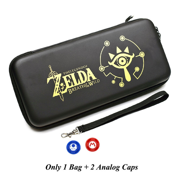 Nintend Switch Accessories Carry Bag + Tempered Glass Film + PC Shell Case+ Joy-con Analog Caps for Nitendo Switch Game Console 5