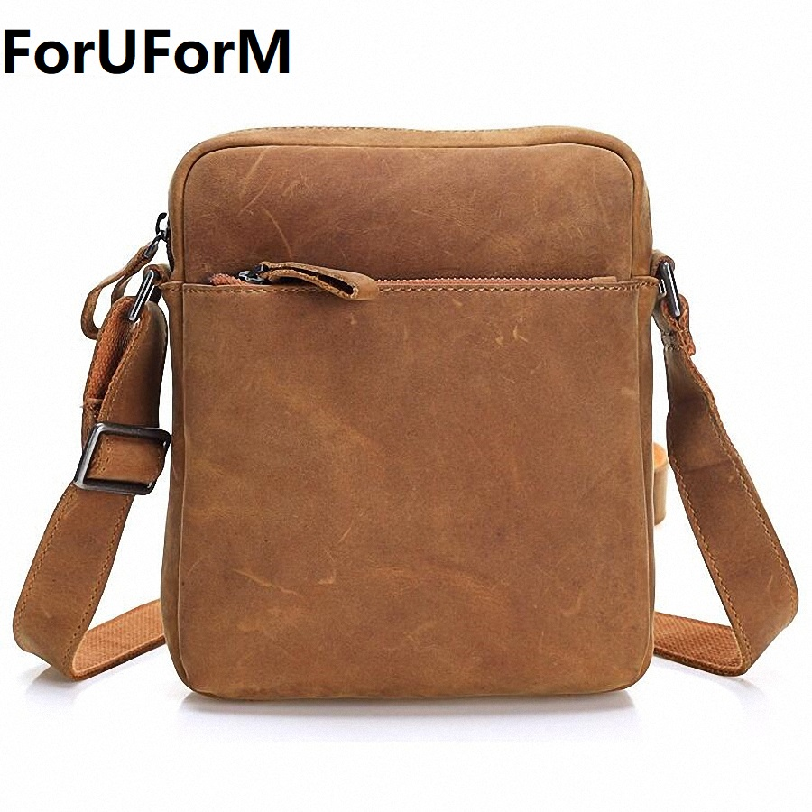 HOT!! 2017 Genuine Leather Bags Men High Quality Messenger Bags Male Small Travel Brown Crossbody Shoulder Bag For Men LI-1996 xi yuan 2017 genuine leather bags men high quality messenger bags small travel dark brown crossbody shoulder bag for men gifts