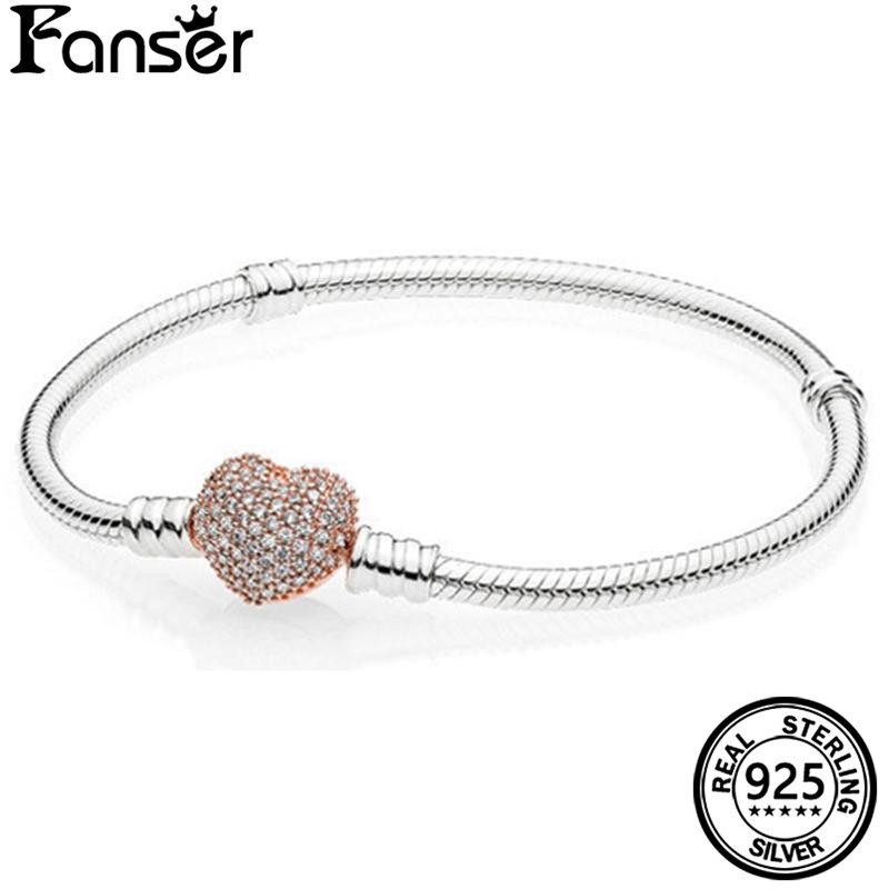 FANSER Gold Heart Snake Women Bracelet Geniune 100% S925 Pure Silver Pandor Original Copy Has logo Bangle Classic Jewelry