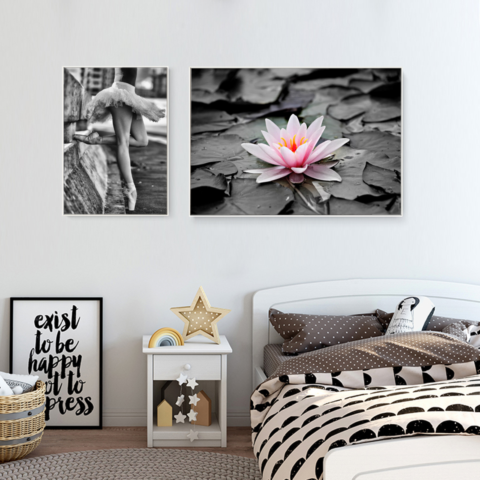 Nordic Bedroom Decoration Lotus Flower Posters And Prints Ballet