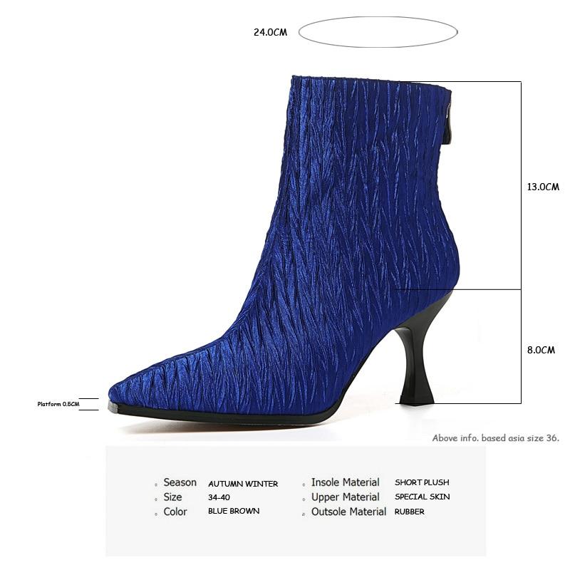 Zipper blue Dünne Stiefeletten Heels Herbst Winter Aiweiyi Hochhackige Stiletto High Karree Zurück Frau Brown Schuhe 6TqxwY