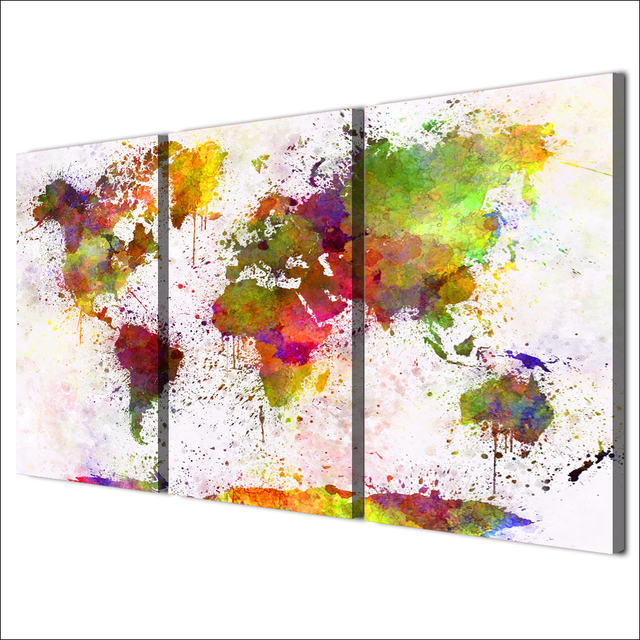 Home Frame Hd Printed Living Room Abstract Pictures 3 Piece Color World Map Painting Wall Art Canvas Modular Poster
