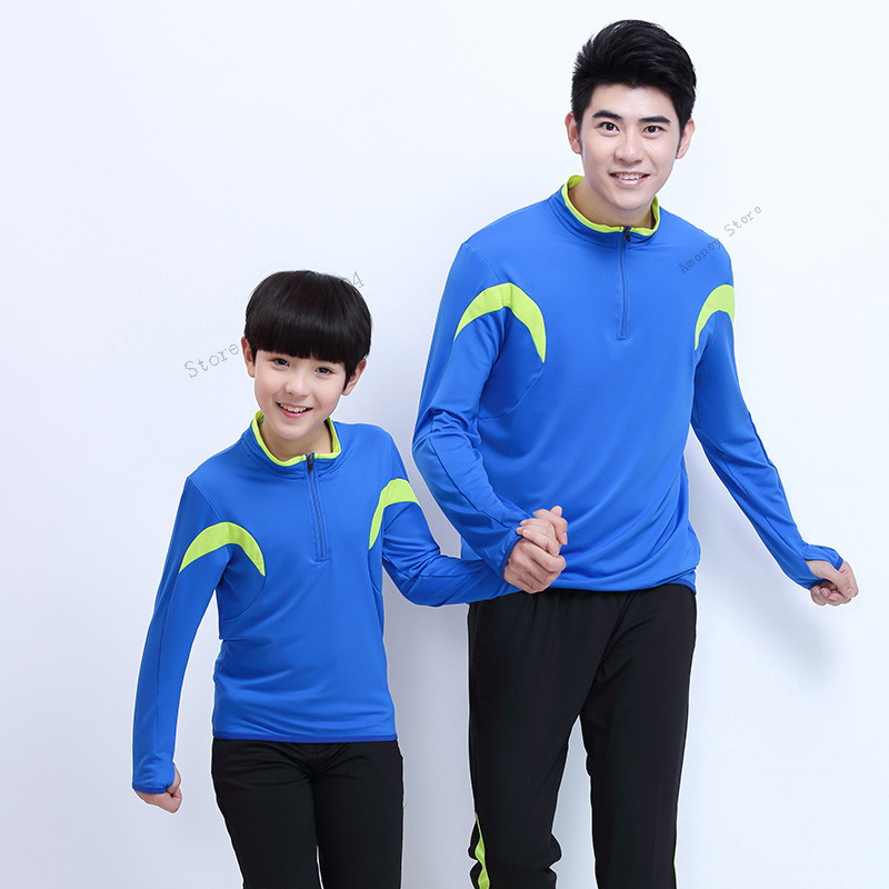 Adsmoney hommes enfants Sport costume chemises avec pantalon course veste Polyester à manches longues Fitness course veste Jogging Sportswear
