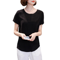 2019 Summer new elegant Short sleeve Tops Tees women black Casual O Neck T shirt white fashion Loose T shirt women