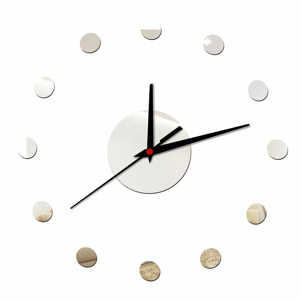 Small Dots Diy Wall Clock Modern Design Silent Acrylic Mirror Decorative Clocks Kitchen Self Adhensive Wall Stickers Home Decor Diy Wall Clock Quartz Wall Clockdesigner Wall Clock Aliexpress