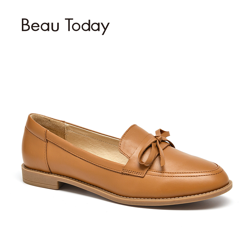BeauToday Loafers Women Genuine Calfskin Leather Butterfly Knot Round Toe Lady Flats Slip On Shoes Handmade