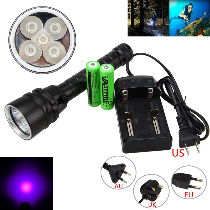 395nm 5x XPE UV LED Underwarter 100m Scuba Diving Flashlight 18650 Torch+Charger