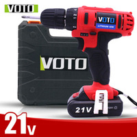 VOTO 2*Battery Rechargeable Cordless Drill Electric Screwdriver Set With Case Lithium Power Tools Screw Gun Driver 21V RED