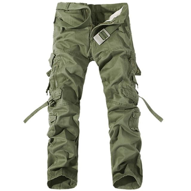 AIRGRACIAS 2016 Moda de Alta qualidade Multi-Bolso Sólidos Mens Calças Cargo Militares Plus Size Dos Homens Calças de algodão Tamanho 28-40