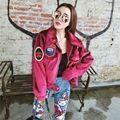 Personalidad de La moda de terciopelo Brillante chaquetas mujeres otoño invierno abrigos de señora chaqueta corta de la motocicleta Coreano prendas de vestir exteriores Parche X6294