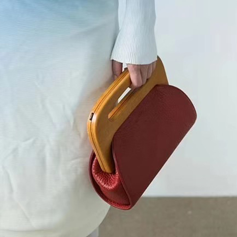 vintage wooden clip shell women handbags designer crossbody shoulder bags luxury pu leather female clutch bag small purses lady in Clutches from Luggage Bags
