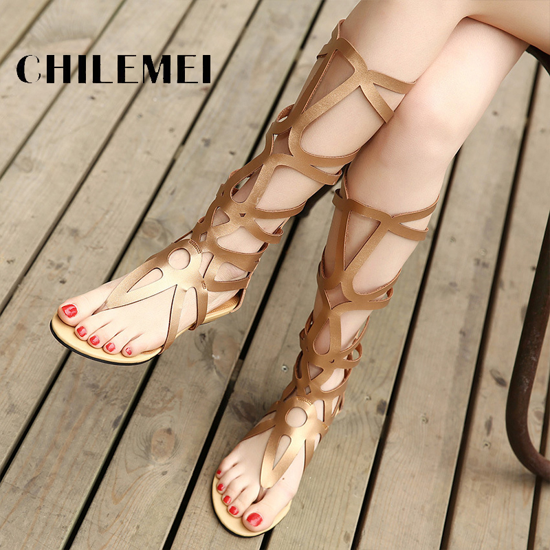 Woman Sandals Knee High Woman Boots Sexy Fashion Flat Sandals Gladiator Boots Open Toe Summer Sandals Cut Out Back Zip Shoes rousmery 2017 the latest rivets embellished open toe knee high sandals boots sexy cut outs lace up woman flat gladiator sandals
