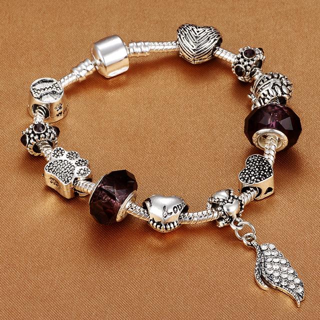 Ladies Antique Silver Charm Bracelet