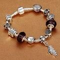 HOMOD Moda Antique Silver Mulheres Charm Bracelet Beads fit Diy Pulseira Femme Com Pingente de Asa para melhor presente da menina Jóias