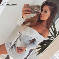 NATTEMAID Women Winter Autumn Knit Dress Full Sleeve Slash Neck Off Shoulder Mini Sweater Dresses Sexy