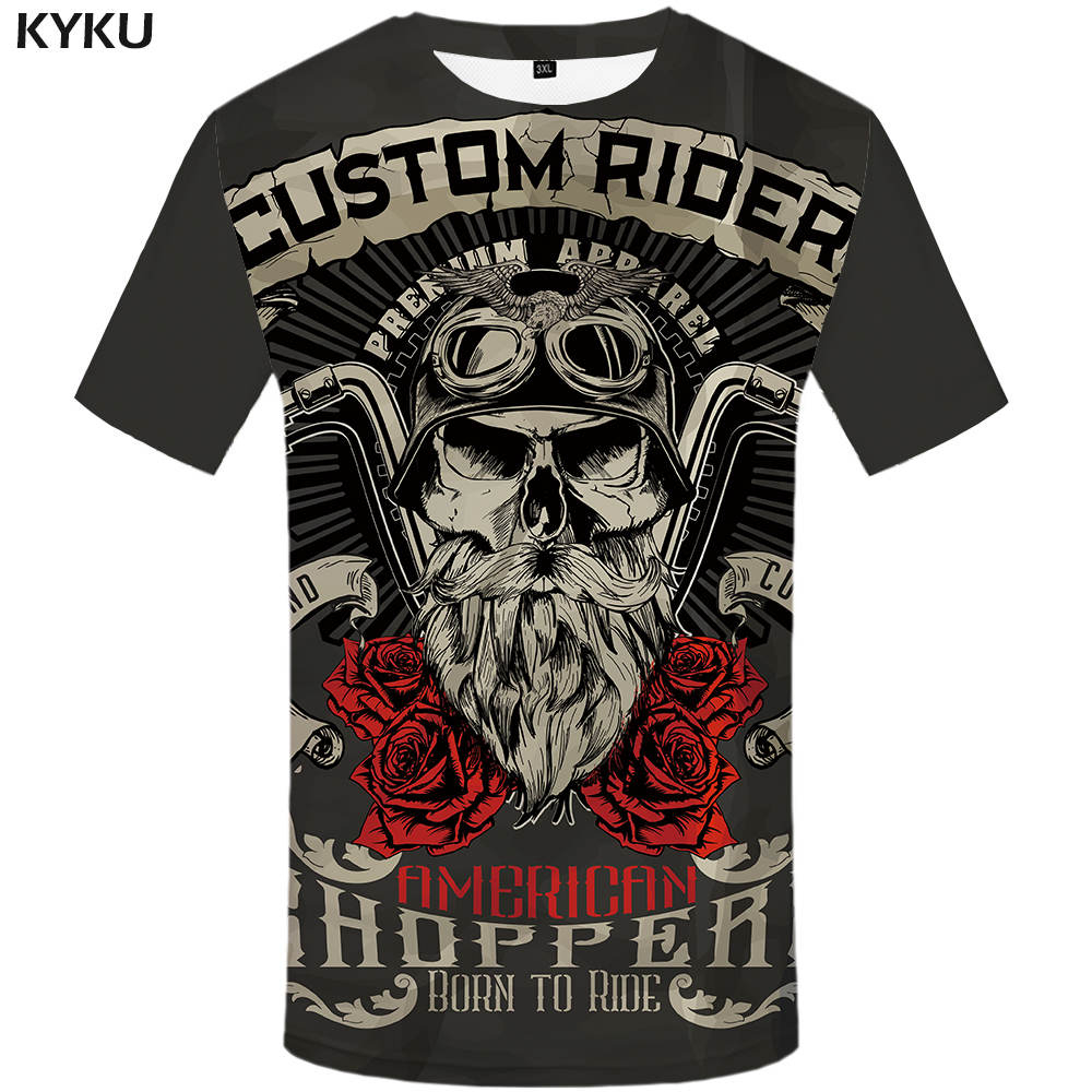KYKU Brand Motorcycle T Shirt Punk T-shirt Knight Shirts 3d Men Casual Rock Vintage Hip Hop Summer Tee Top Homme Clothes