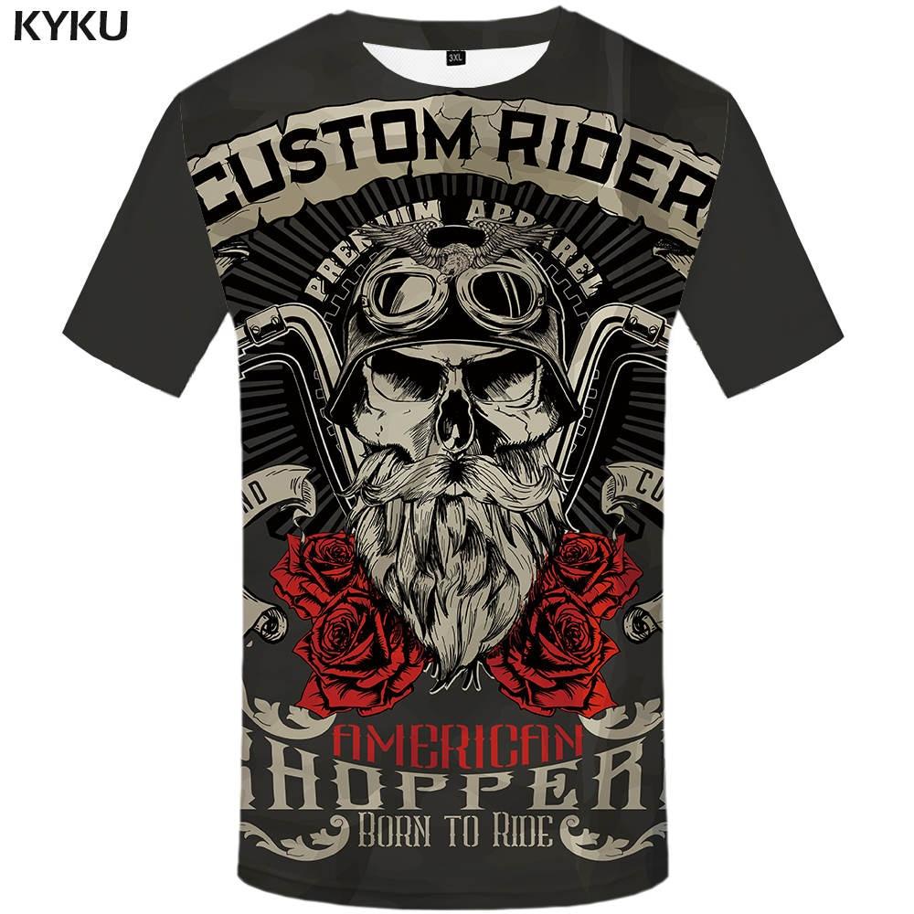 KYKU Brand Motorcycle T Shirt Punk T-shirt Knight Shirts 3d T Shirt Men Casual Rock Vintage Hip Hop Summer Tee Top Homme Clothes