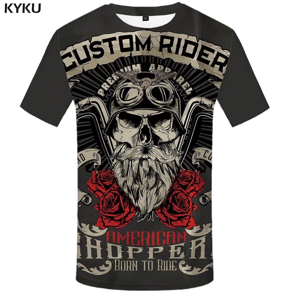 KYKU motocicleta marca camiseta punky camiseta Caballero camisas 3d camiseta hombres Casual Rock Vintage Hip Hop Tee verano top Hombre Ropa
