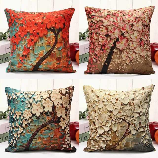 Floral Pillow Case Cuscino Fiore Albero di Disegno Copertura di Tela Del Cotone