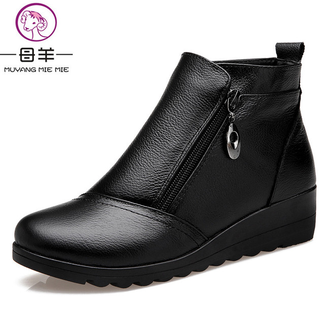 MUYANG MIE MIE Winter Women Shoes Woman Genuine Leather Wedges Snow Boots Velvet Warm Ankle Boots Women cheap marketable with mastercard for sale JHgws