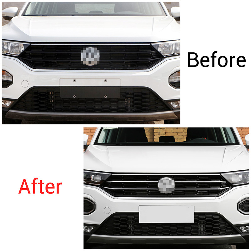 Image 2 - Car Front Hood Middle Billet Grille Mesh Horizontal Trim Styling Sticker Cover 5Pcs/Set For VW T Roc 2017 2018 2019-in Body Kits from Automobiles & Motorcycles