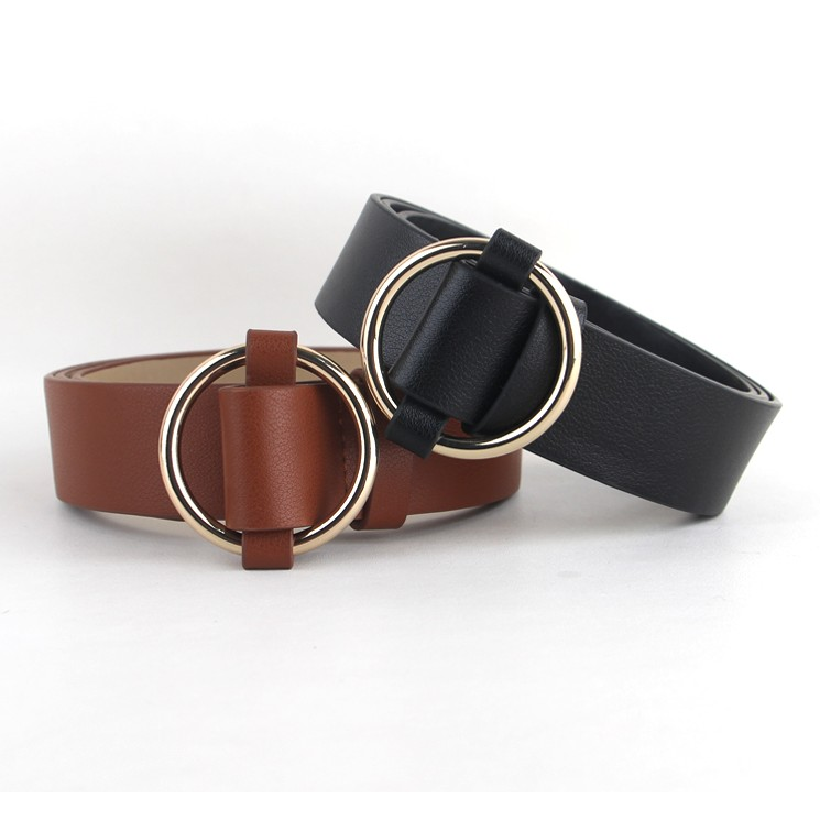 Newest Gold Round buckle belts female HOT leisure jeans wild belt without pin metal buckle brown leather black strap belt women 2
