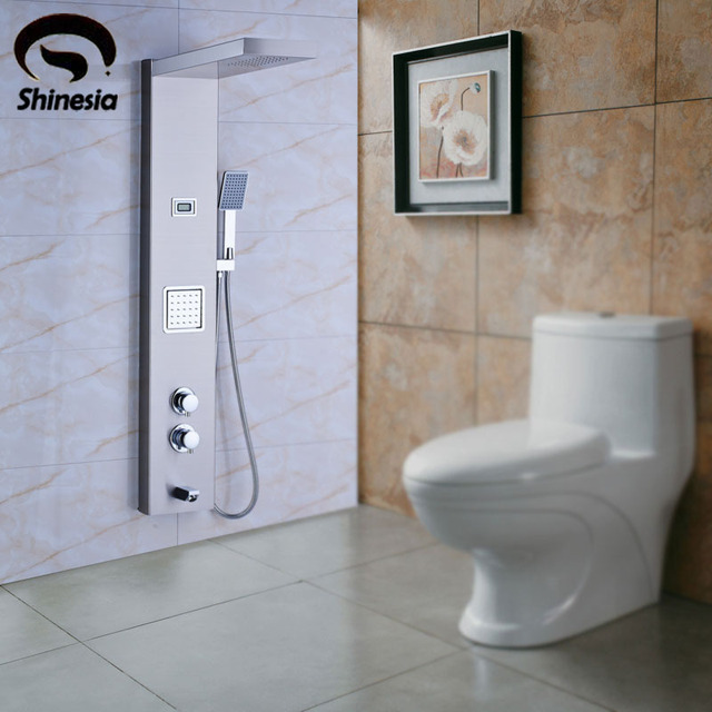 Top nichel spazzolato pannello in acciaio inox colonna doccia vasca da bagno miscelatore doccia - Sostituire la vasca con doccia ...