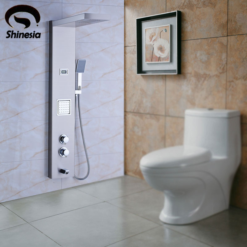 Nickel Brushed Stainless Steel Thermostatic Shower Column Panel Bath Tub Mixer Tap with Hand Shower Wall Mounted