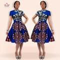 2017 vestido de Invierno Vestido de Mujer Tradicional Batik Africano Dashiki Plus Tamaño Midi Vestido de Algodón Estampado de Cera Para Las Niñas WY082