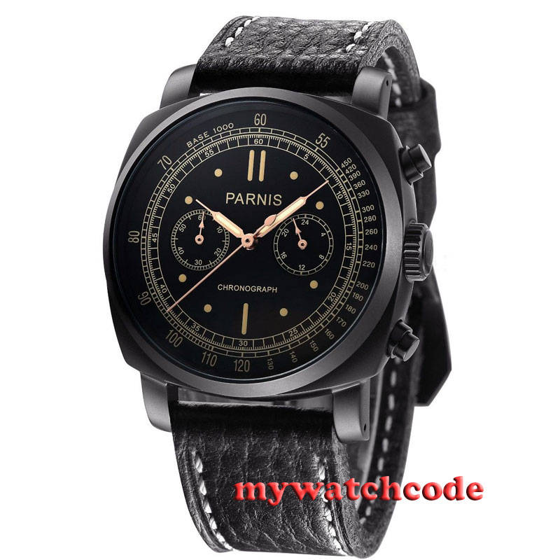 46mm parnis black dial PVD case Japan Chronograph Movement mens wrist watch P401 orkina brand clock 2016 new luxury chronograph rose gold case black dial japan movement mens wrist watch cool horloges