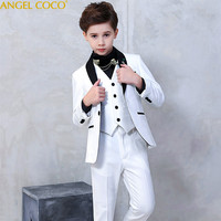 High Quality Fashion Gentleman Style Custom Boy Suits & Blazers Tailor Jacket Boy 6 Piece Embroidered Sequins Costume Show