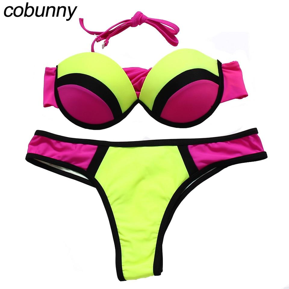 COBUNNY Push Up Swimsuit Beach Bandeau Bikini Women Print Leopard Swimwear Thong Bathing Suit Brazilian bikini Set