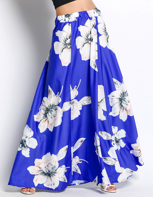 297f03a4314 Elegant Fancy Flower Print Long Skirt Women Fashion Elastic Waist long Big  Swing Floral Chiffon Maxi Skirts w