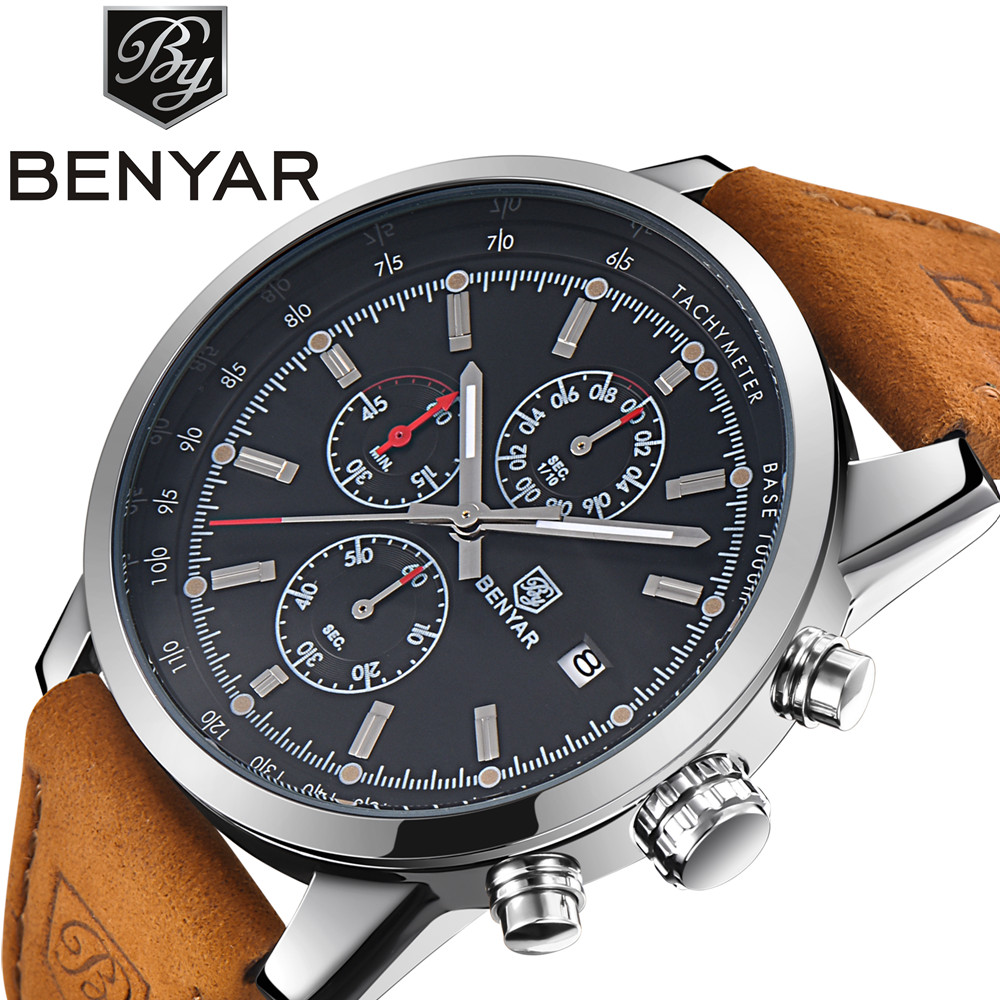 BENYAR mens watches top brand luxury Male Leather Waterproof Sport Quartz Chronograph Military Wrist Watch Men Clock relogio benyar luxury top brand men watches sports military army quartz wrist watch male chronograph clock relogio masculino gift box