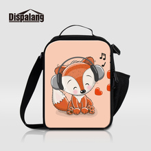 Dispalang 3D Printing Fox Cartoon Thermal Insulated Kids Lunch Bags Animal Insulation Lunch Box Picnic Food Lunch Bag For Worker