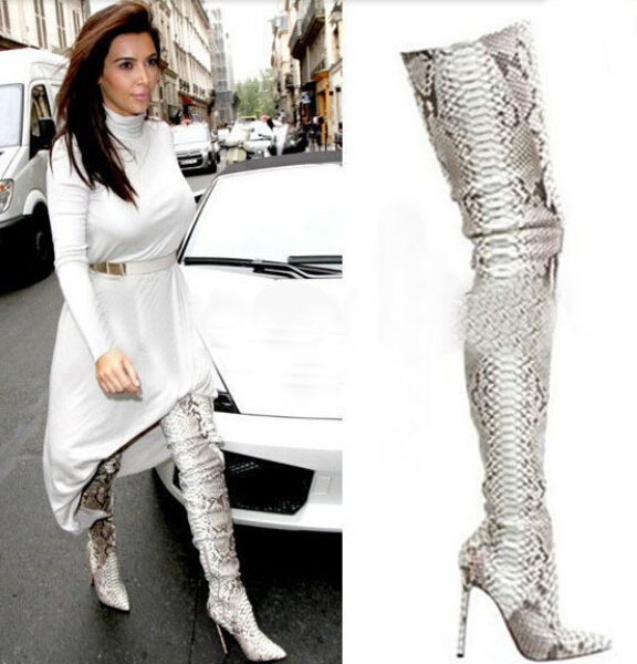 snake print thigh high boots | Gommap Blog
