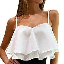 blusasmujerdemoda2019womensblouseshirtWomen Sexy Sleeveless Pleated Ruffle Double Layer Chiffon BlouseShirt tunika