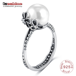 LZESHINE Authentic 100% 925 Sterling Silver Female Rings with Simulated Pearl For Women Finger Ring anillos mujer PSRI0082-B