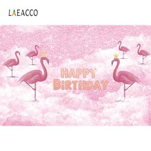 Laeacco Pink Flamingo Happy Baby Birthday Party Gold Crown Portrait Photo Backgrounds Photography Backdrops For Studio