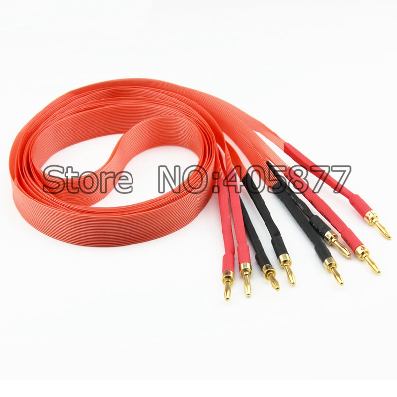 Pair Nordost Hi-End Red Dawn Telfon Audio Speaker Cable 2.5m 3m Gold plated banana plug spade plug