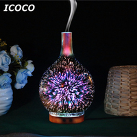7 Colors LEDs Night Light 3D Glass Humidifier Home Essential Oil Diffuser Aromatherapy Air Purifier 2018