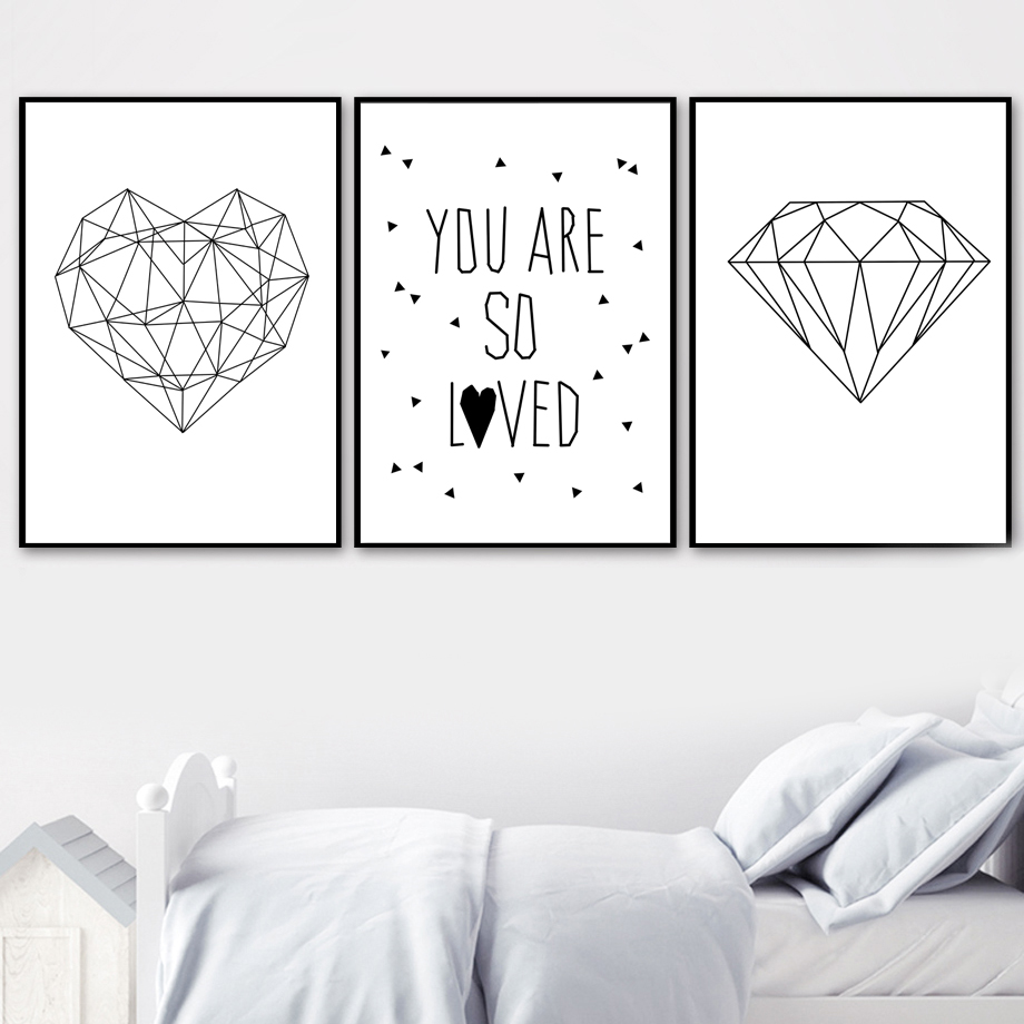 Hot Sale Geometric Heart Diamond Love Quotes Nordic Posters And