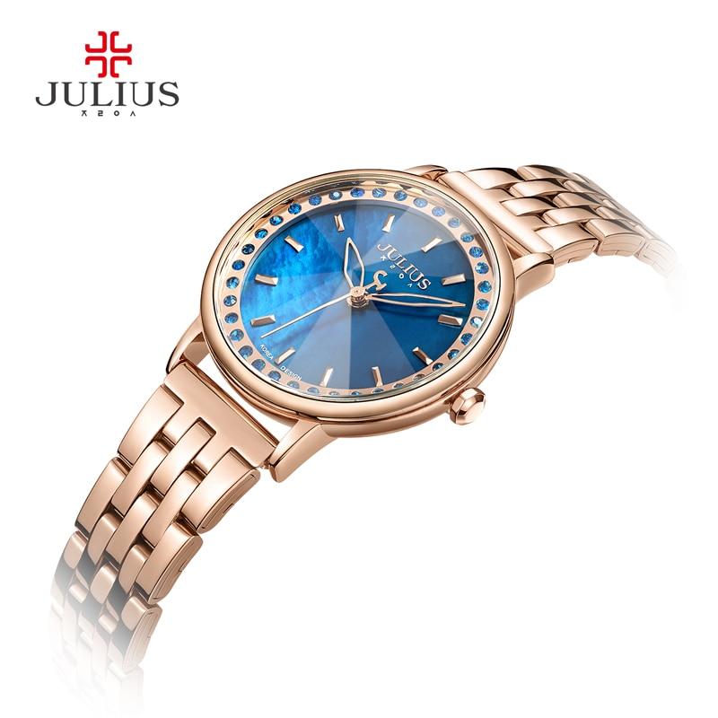 Julius Brand 2018 New Spring Quartz Watch Women Fashion Casual Clock Shell Dial Whatch Waterproof 30M Steel Montre Femme JA-959