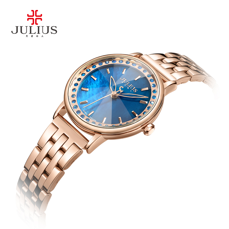 Julius Brand 2018 New Spring Quartz Watch Women Fashion Casual Clock Shell Dial Whatch Waterproof 30M Steel Montre Femme JA-959